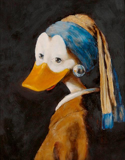 Die Ente mit dem Perlenohrring, zu sehen auf der Duckomenta in Hannover